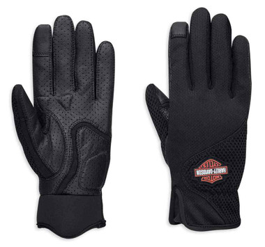 Harley-Davidson Women's Odessa Mesh Full-Finger Gloves, Black 98330-19VW - Wisconsin Harley-Davidson
