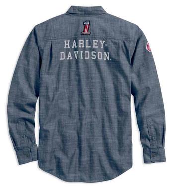 Harley-Davidson Men's Retro Race Flag Slim Fit Long Sleeve Shirt 99195-19VM - Wisconsin Harley-Davidson
