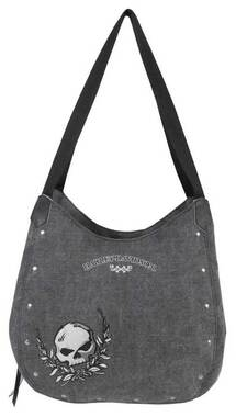 Harley-Davidson Women's Willie G Skull Distressed Denim Bucket Bag WDD5318-BLACK - Wisconsin Harley-Davidson