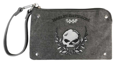 Harley-Davidson Women's Willie G Skull Distressed Denim Wristlet WDD5374-BLACK - Wisconsin Harley-Davidson