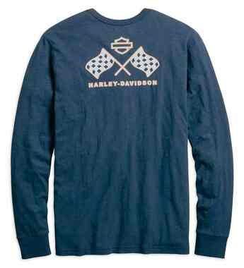 Harley-Davidson Men's Retro Race Flag Slim Fit Henley Tee, Blue 99214-19VM - Wisconsin Harley-Davidson