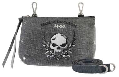 Harley-Davidson Women's Skull Distressed Denim Hip Bag w/ Strap WDD5350-BLACK - Wisconsin Harley-Davidson