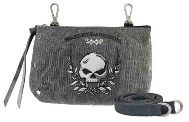 Harley-Davidson Women's Skull Distressed Denim Hip Bag w/ Strap WDD5350-BLACK - Wisconsin Harley-Davidson