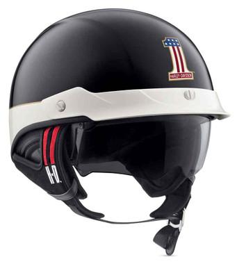 Harley-Davidson Men's #1 Sun Shield J03 Half Helmet, Black/White 98370-19VX - Wisconsin Harley-Davidson