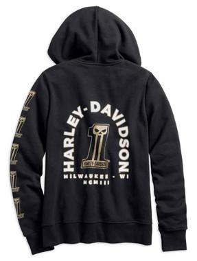 Harley-Davidson Women's Printed #1 Skull Full-Zip Hoodie, Black 99241-19VW - Wisconsin Harley-Davidson