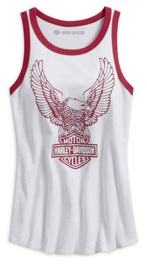 Harley-Davidson Women's Retro Eagle Sleeveless Tank Top, White 99227-19VW - Wisconsin Harley-Davidson