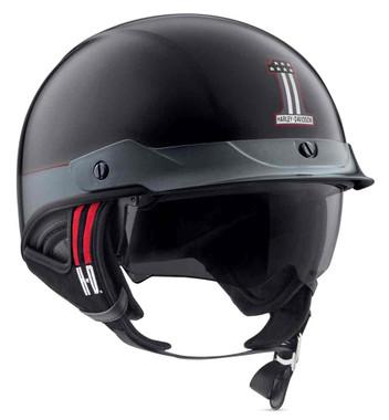 Harley-Davidson Men's #1 Sun Shield J03 Half Helmet, Black/Steel 98369-19VX - Wisconsin Harley-Davidson