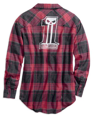 Harley-Davidson Women's #1 Skull Plaid Long Sleeve Woven Shirt 99219-19VW - Wisconsin Harley-Davidson