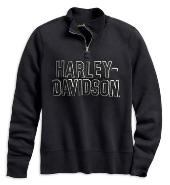 Harley-Davidson Women's Felt Letter 1/4-Zip Pullover, Black 99286-19VW - Wisconsin Harley-Davidson