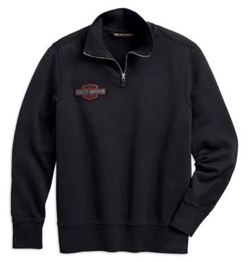 Harley-Davidson Men's Felt Letter 1/4-Zip Slim Fit Pullover, Black 99289-19VM - Wisconsin Harley-Davidson
