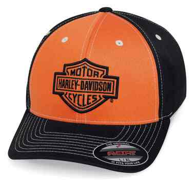Harley-Davidson Men's Colorblock Stretch Baseball Cap, Orange & Black 99469-19VM - Wisconsin Harley-Davidson