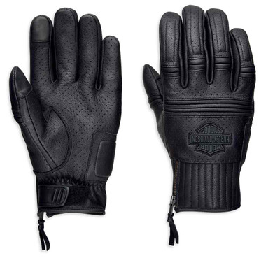 Harley-Davidson Men's Layton Perforated Full-Finger Leather Gloves 98381-19VM - Wisconsin Harley-Davidson