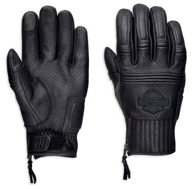 Harley-Davidson Men's Layton Perforated Full-Finger Leather Gloves 98381-19VM - Wisconsin Harley-Davidson