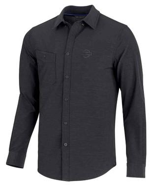 Harley-Davidson Men's Double Weave Stretch Slim Fit Shirt, Black 99192-19VM - Wisconsin Harley-Davidson
