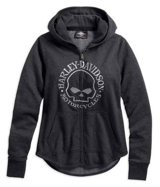 Harley-Davidson Women's Metallic Skull Zippered Hoodie, Gray 99239-19VW - Wisconsin Harley-Davidson