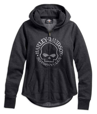 Harley-Davidson Women's Metallic Skull Zippered Hoodie, Gray 99239-19VW - Wisconsin Harley-Davidson