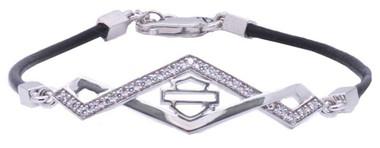 Harley-Davidson Women's Diamond Festival Leather Bracelet w/ Crystals HDB0378 - Wisconsin Harley-Davidson
