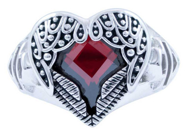 Harley-Davidson Women's Red Crystal Winged Heart Ring, Silver Tone HDR0411 - Wisconsin Harley-Davidson
