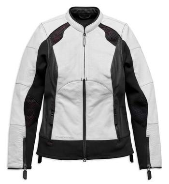 Harley-Davidson Women's FXRG Perforated Leather Jacket, White 98070-19VW - Wisconsin Harley-Davidson