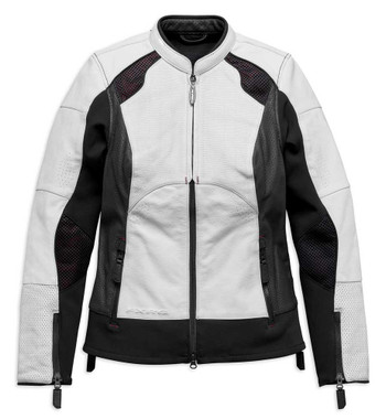 Harley-Davidson Women's FXRG Perforated Leather Jacket, White 98070-19VW - Wisconsin Harley-Davidson