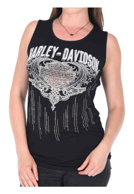 Harley-Davidson Women's Bar & Shield Lace-Up Back Sleeveless Tank Top - Black - Wisconsin Harley-Davidson