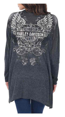 Harley-Davidson Women's Road Clash Embellished Long Sleeve Cardigan, Gray - Wisconsin Harley-Davidson