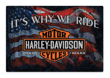 Harley-Davidson Why We Ride Embossed Flag Tin Sign, 17 x 12.5 inches 2012071 - Wisconsin Harley-Davidson