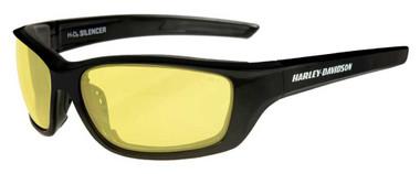 Harley-Davidson Men's Silencer Sunglasses, Yellow Lens/Gloss Black Frame HASIL11 - Wisconsin Harley-Davidson