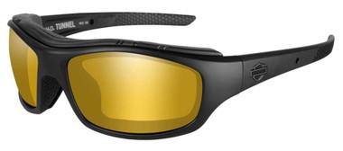 Harley-Davidson Men's Tunnel Sunglasses, PPZ Amber Gold Lens/Black Frame HDTNL09 - Wisconsin Harley-Davidson