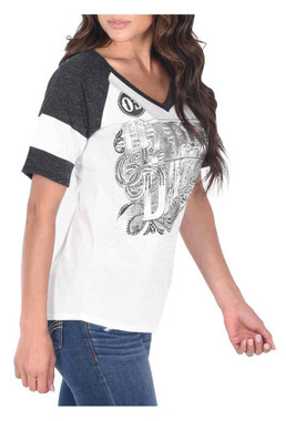 Harley-Davidson Women's Genuine Article Colorblocked Short Sleeve Tee, Ivory - Wisconsin Harley-Davidson
