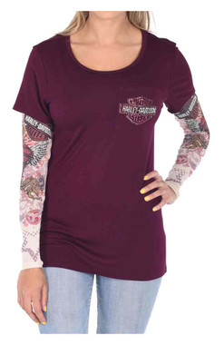 Harley-Davidson Women's Hearts On Fire Long Sleeve Scoop Neck Tee, Plum - Wisconsin Harley-Davidson