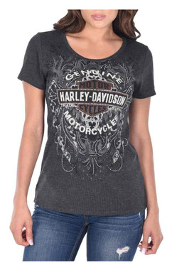 Harley-Davidson Women's The Last Ride Scoop Neck Short Sleeve Tee, Gray - Wisconsin Harley-Davidson