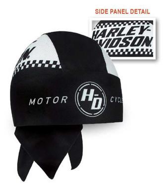 Harley-Davidson Men's Ignition Checkered Flag Perforated Headwrap, Black HW33488 - Wisconsin Harley-Davidson