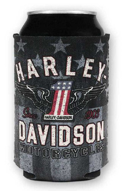 Harley-Davidson RWB #1 Wings Neoprene Can Flat Wrap, Red White & Blue CF33884 - Wisconsin Harley-Davidson