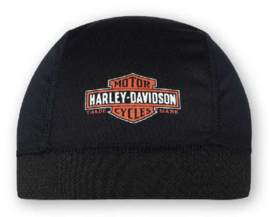 Harley-Davidson Men's Long Bar & Shield Skull Cap, Black Orange & White SK31230 - Wisconsin Harley-Davidson
