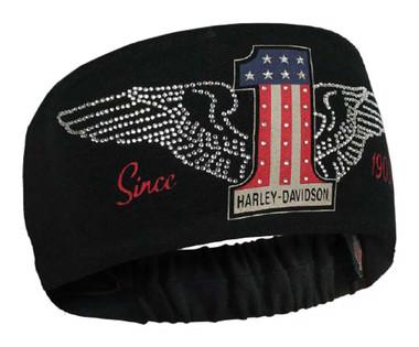 Harley-Davidson Women's RWB #1 Wings Headband Scrunchie Red White & Blue HE33884 - Wisconsin Harley-Davidson