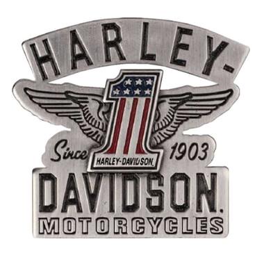 Harley-Davidson 2D Die Cast RWB #1 Wings Pin w/ Enamel Fill, Silver P338063 - Wisconsin Harley-Davidson