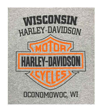 Harley-Davidson Men's Bar & Shield Long Sleeve Crew-Neck Shirt, Gray 30297501 - Wisconsin Harley-Davidson