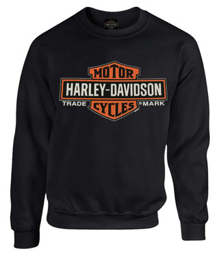 Harley-Davidson Men's Elongated B&S Fleece Pullover Sweatshirt, Black 30298768 - Wisconsin Harley-Davidson