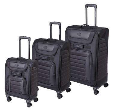 Harley-Davidson Onyx Quilted Wheeled Travel Luggage - Sleek Midnight Black - Wisconsin Harley-Davidson