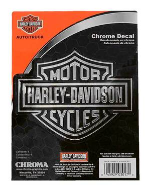 Harley-Davidson Embossed Bar & Shield Logo Chrome Decal - 5.5 x 4.5 in. CG3017 - Wisconsin Harley-Davidson