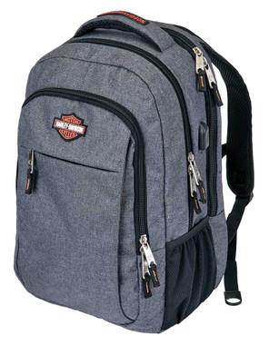 Harley-Davidson Smart Hi-Tech Backpack w/ External USB Port -Black or Gray 99125 - Wisconsin Harley-Davidson