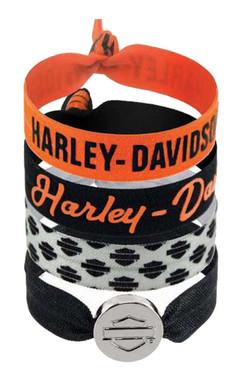Harley-Davidson Women's Basic Collection Ribbon Hair Ties, Set of 4 HS31199 - Wisconsin Harley-Davidson
