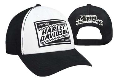 Harley-Davidson Men's Ignition Embroidered Baseball Cap, White & Black BCC33488 - Wisconsin Harley-Davidson
