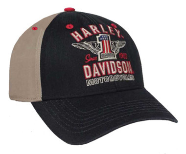 Harley-Davidson Men's RWB #1 Wings Colorblocked Baseball Cap, Black BCC33812 - Wisconsin Harley-Davidson