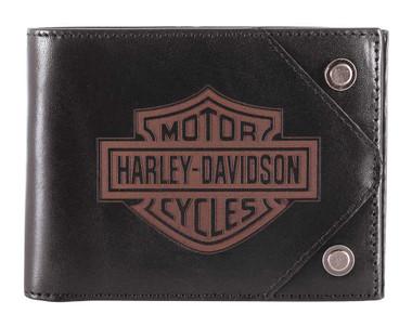Harley-Davidson Men's Lasered B&S Bi-Fold Leather Wallet w/ RFID HDMWA11486 - Wisconsin Harley-Davidson