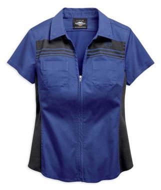 Harley-Davidson Women's Zip-Front Chest Striped Short Sleeve Shirt 96701-19VW - Wisconsin Harley-Davidson