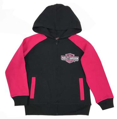 Harley-Davidson Little Girls' Glittery B&S Knit Zippered Hoodie, Black & Pink - Wisconsin Harley-Davidson