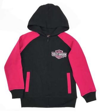 Harley-Davidson Big Girls' Glittery B&S Knit Zippered Hoodie, Black & Pink - Wisconsin Harley-Davidson