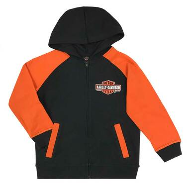 Harley-Davidson Little Boys' Bar & Shield Knit Zippered Hoodie, Black & Orange - Wisconsin Harley-Davidson